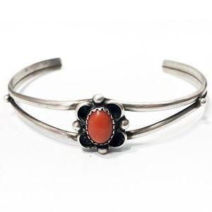 Vintage coral sterling silver cuff bracelet 6.75